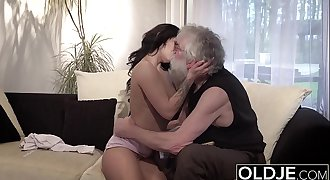 Old Young Porn Sexy Teen Fucked by old man on the couch she rails his cock