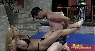 Victorious Wrestling Domina Jerks Off Her Loser Sub