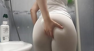 White shirt and tights shower