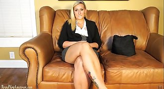 Blonde doing casting interview treated to dick and jism