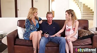 Little nanny Angel Smalls shares big cock with Julia Ann