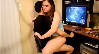 HORNY girlfriend riding her gamer bf